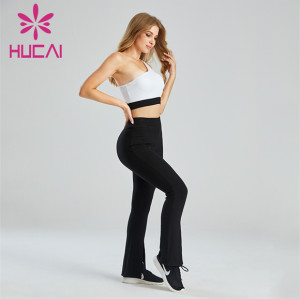 Customized Black And White Color Matching Sports Bra And Flared Pants