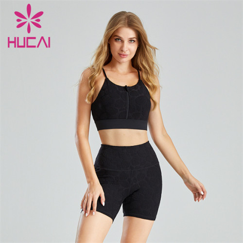 Black Suspender Sports Bra And Cycling Shorts Wholesale