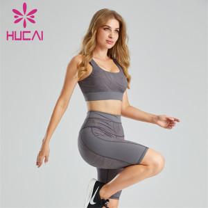 Fashion Printed Sports Bra And Cycling Shorts Wholesale