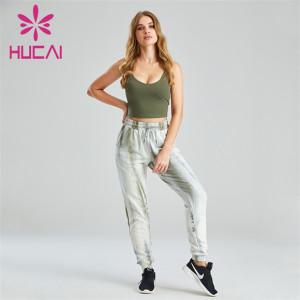 U-neck Open Back Sports Bra And Printed Sweatpants Customization