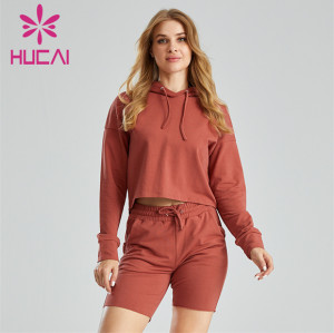 Ladies Hooded Sweater And Cycling Shorts Suit Customization
