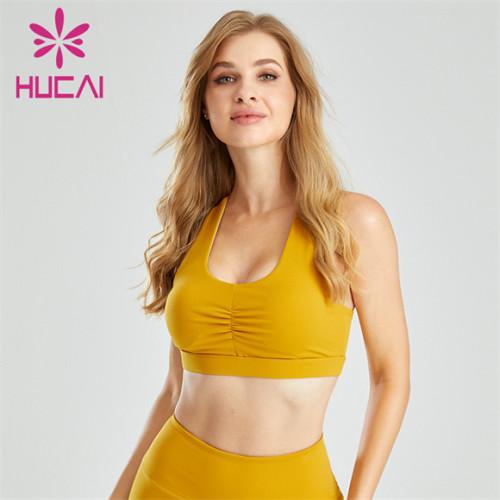 Ladies Yellow Gather Shockproof Sports Bra Custom