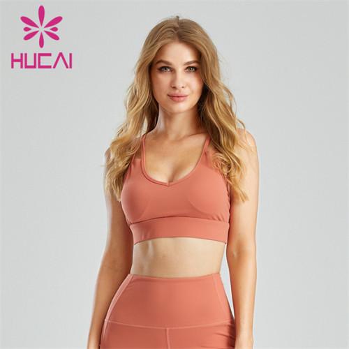 Orange Sling Open Back Comfortable Sports Bra Customization