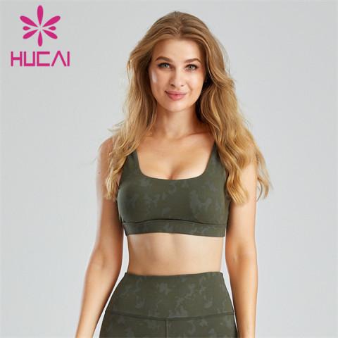 Camouflage Jacquard Skinny Shockproof Sports Bra Customization