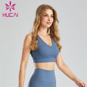 Blue V-neck Tight Sports Bra Wholesale Supplier