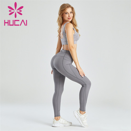 Cotton Polyester Yarn Sports Bra And Grey Leggings Suit Wholesale