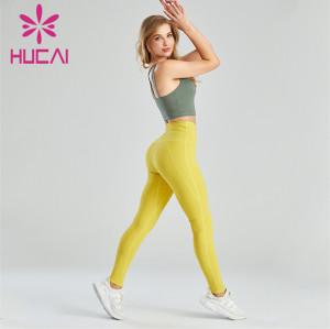 Ladies Sports Bra And Yellow Leggings Suit Customization