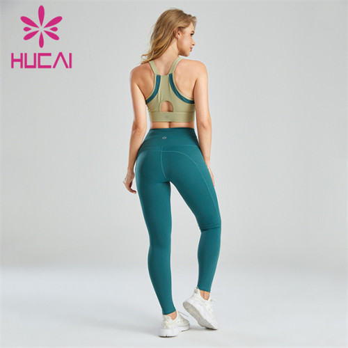 Two-color Stitching Bra And Sports Leggings Set Wholesale