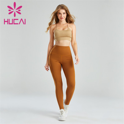 Ladies Sexy Sports Bra And Dark Yellow Leggings Suit Customization