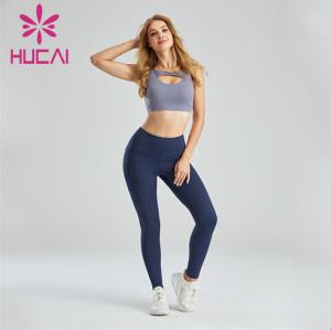 Ladies Sexy Sports Bra And Dark Blue Leggings Suit Customization