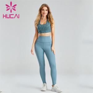 Custom Printed Sports Bra And Light Blue Leggings Suit