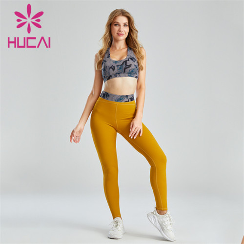 Ladies Print And Solid Color Stitching Sports Suit Customization