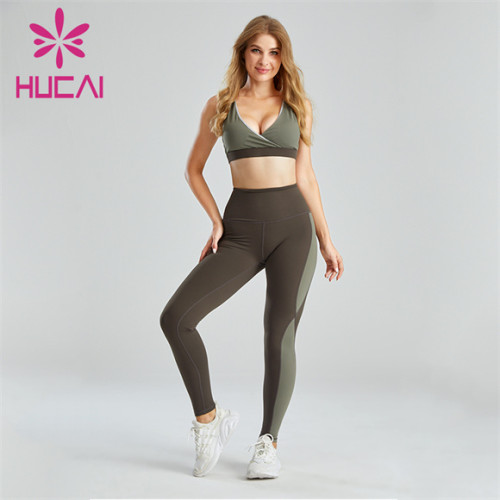 Sexy Sports Bra And Two-tone Leggings Suit Customization