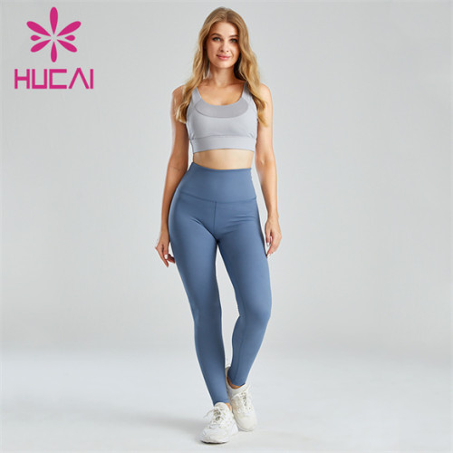 Stitching Sports Bra And Blue Leggings Suit Customization