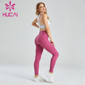 White Sports Bra And Pink Leggings Suit Wholesale