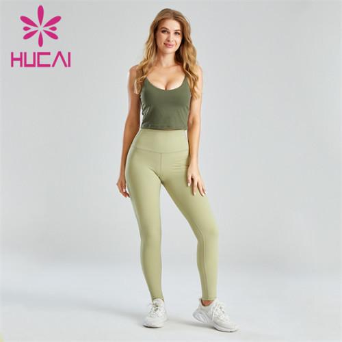Dark Green Sports Bra And Light Green Leggings Suit Wholesale
