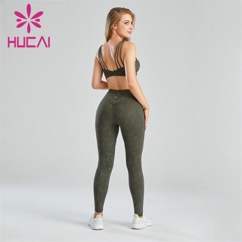 Women's Dark Green Printed Sports Suit Wholesale