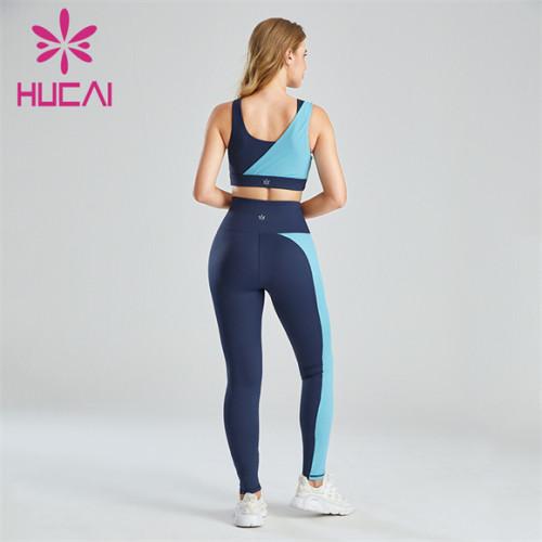 Ladies Light Blue Dark Blue Color Sports Suit Customization