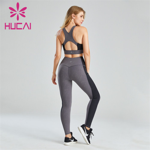 Ladies Gray And Black Stitching Sports Suit Customization