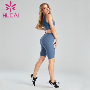 Ladies Blue Sports Bra And Cycling Shorts Suit Wholesale