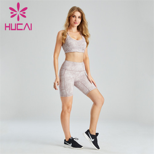 Ladies Printed Sports Bra And Cycling Shorts Suit Customization