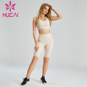 Wholesale Ladies Solid Color Sports Bra And Cycling Shorts Set