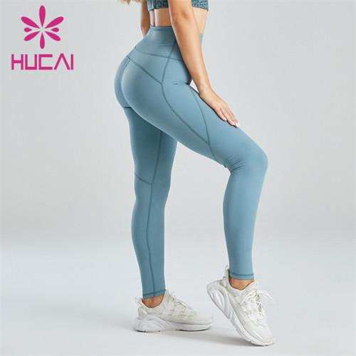 Ladies Light Blue High Waist Slim Leggings Wholesale