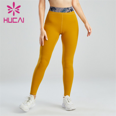 Women's Yellow Printed Belt Slim Leggings Custom