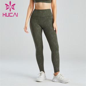 Ladies High Waist Dark Green Printed Leggings Wholesale
