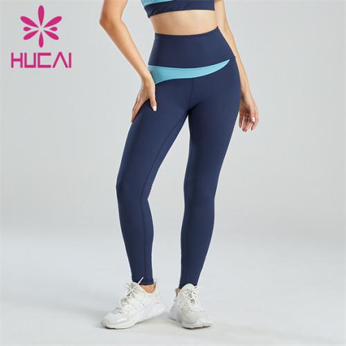 Ladies Light Blue Dark Blue Stitching Leggings Customization