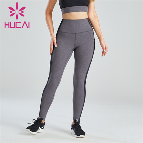 Simple Black And Gray Color Matching Leggings Customization