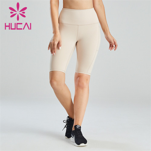 Ladies High Waist Solid Color Simple Cycling Shorts Wholesale