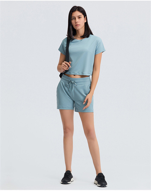 Wholesale workout shirts cotton women loose athletic t-shirts set