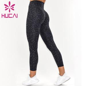 OEM Yoga Pants Fitness Leopard Print Digital Print Design