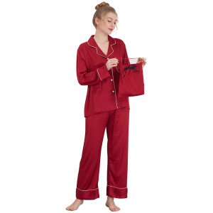 Wholesale Two Pieces of Pajamas Long Sleeve and Pants Silk Pajamas for Women