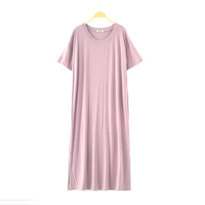 Factory Customized Nightgown for Women Shortsleeve with Cotton Polyester Sleepwear Free Size