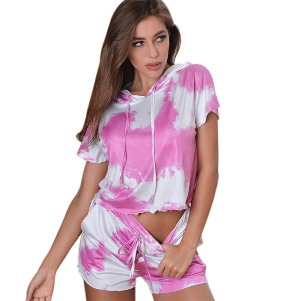 Wholesale Two Piece of Pajamas Short Sleeve and Shorts Adult Female Buttons Silk Home Wear Satin Pajama Set