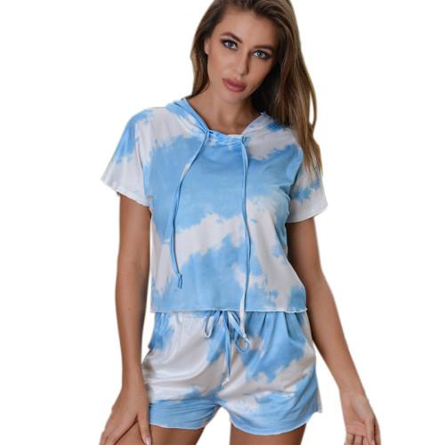 Girls Tie Dye Pajamas,Adult Female Buttons Silk Home Wear,Satin Pajama Set Lingerie and Nightwear,Wholesale Two Piece of Pajamas