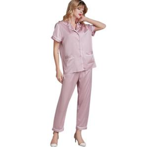 2 Piece Satin Nightwear,Women's Short Sleeve Sleepwear,Loungewear 2 Piece Nightwear Wholesale