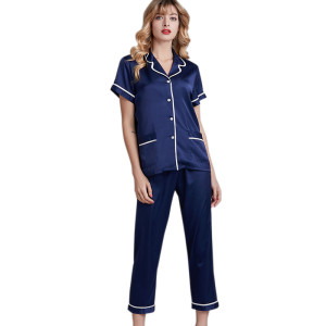 Wholesale Piece Sets of Pyjamas of Adult Female Buttons Silk at Home Fashion New Arrival Two Piece of Pajamas Short Sleeve and Pants