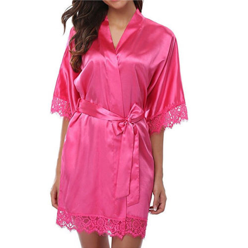 Women's Long Satin Robe,Lace of Female in Summer Spring,Short Sleeve Robe Wholesale