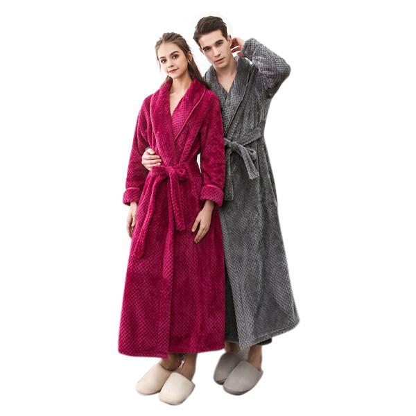 Wholesale Long Robe Polyester Bathrobes of Ladies Couple Adult Sleepwear In Winter