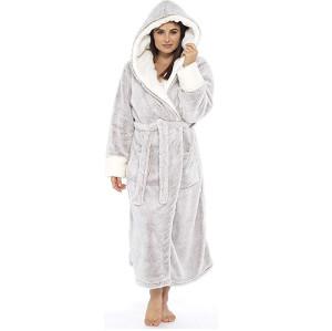 Фланелевый халат с длинным рукавом женской комфортной пижамы для взрослых зимой