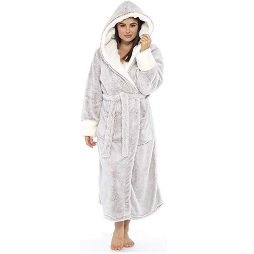 رداء الفانيلا بأكمام طويلة من ملابس النوم المريحة للسيدات البالغات في الشتاء