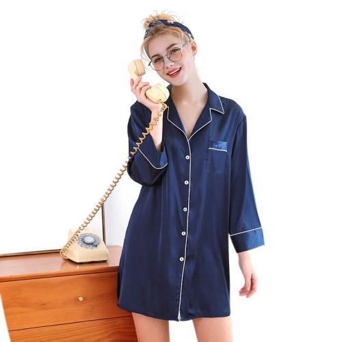 قمصان نوم للسيدات للبيع بالجملة مصنوعة من بوليستر فضفاض بنمط غير رسمي قمصان نوم كاجوال بأكمام طويلة