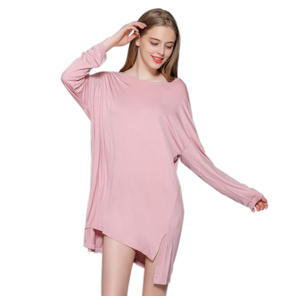 Factory Ladies Home Wear Knee-length Loose Style Nightgown for Women Pretty Lady Nightgown Long Sleeve