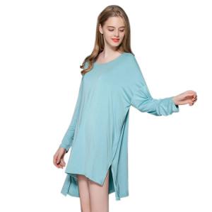 ملابس نسائية منزلية بطول الركبة فضفاضة بأكمام طويلة