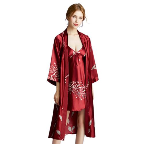 أطقم قمصان نوم بوليستر من الحرير الجليدي من الدانتيل من النساء مطبوع عليها فضفاض السببية