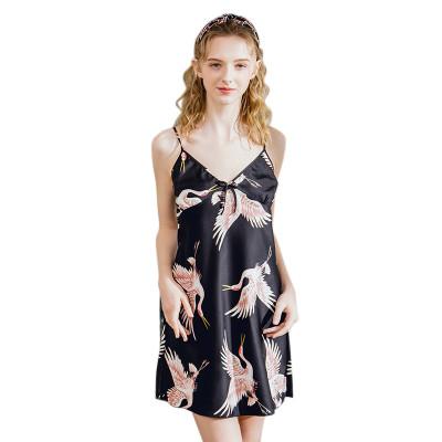 ثوب النوم الحريري الحمالة تنورة دانتيل جميلة للنساء البالغات ملابس نوم عصرية
