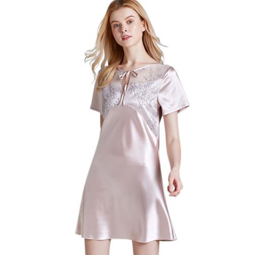 فستان نوم برقبة دائرية مريح لملابس نوم عصرية للسيدات البالغات